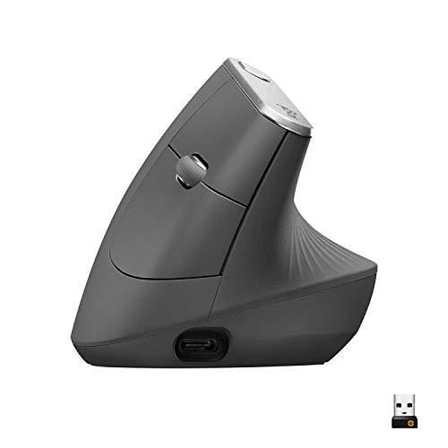 Logitech MX Vertical Wireless Mouse – Advanced Ergonomic Design Reduces Muscle Strain,...
