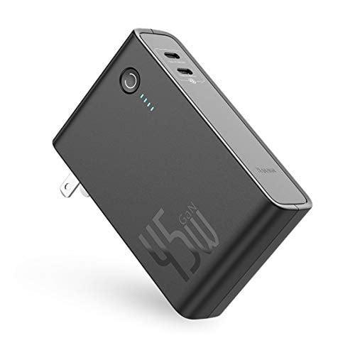 USB C Portable Charger, Baseus 10000mAh Power Bank 2-in-1 45W GaN Tech Wall Charger, PD3.0...