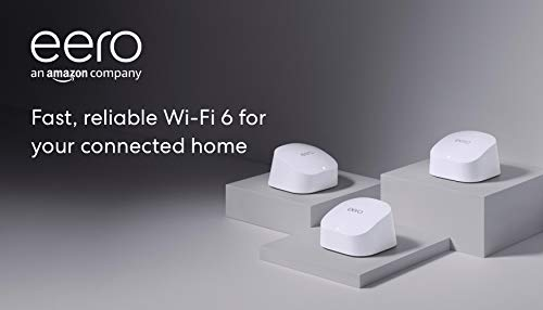 Amazon eero 6 dual-band mesh Wi-Fi 6 system with built-in Zigbee smart home hub (3-pack,...