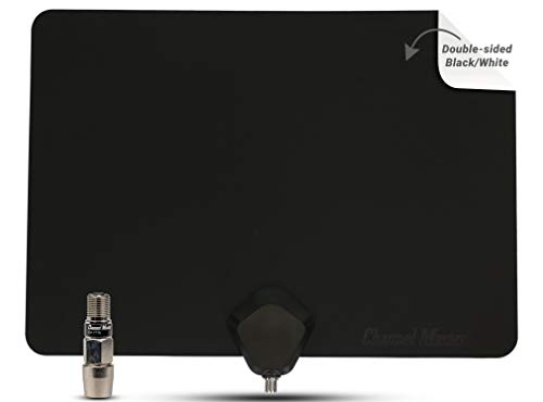 Channel Master FLATenna+ Amplified Indoor TV Antenna - Dual Sided Black/White - 50 Mile...