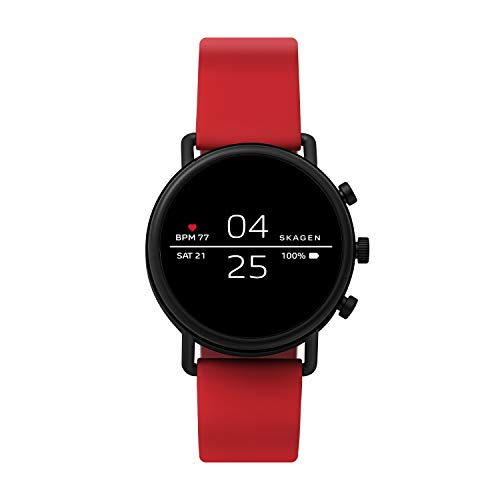 Skagen Connected Falster 2 Stainless Steel and Silicone Touchscreen Smartwatch, Color: Red...