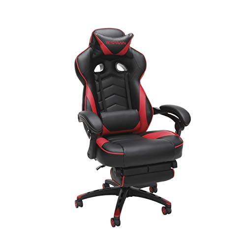 RESPAWN 110 Racing Style Gaming Chair, Reclining Ergonomic Chair with Footrest, in Red...