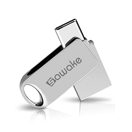 SAWAKE USB C Flash Drive, 64GB USB 3.0 Type C Waterproof Thumb Drive, Dual Drive Memory...