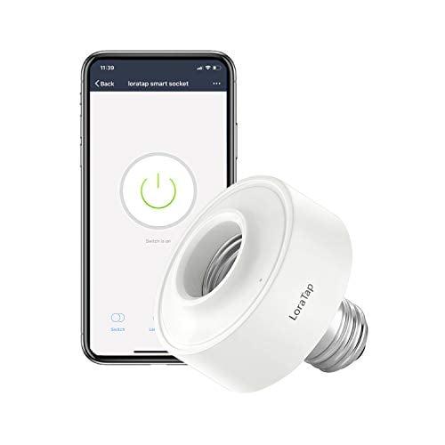 LoraTap Smart Wi-Fi LED Light Bulb Socket Adapter E26 Lamp Timer Holder, Compatible with...
