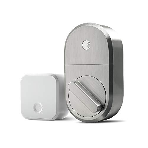 August Smart Lock + Connect Wi-Fi Bridge, Satin Nickel, Works with Alexa. Keyless Home...