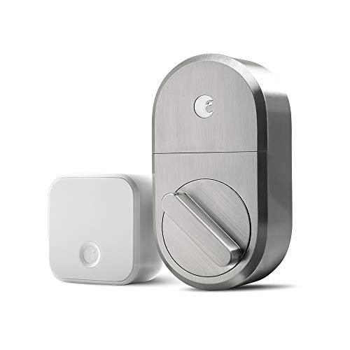 August Smart Lock + Connect Wi-Fi Brige, Satin Nickel, Works with Alexa. Keyless...