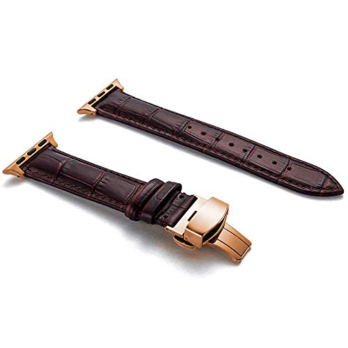 Compatible with Apple Watch Band Leather Women Men 38mm 42mm, Luxury Genuine Leather Strap...