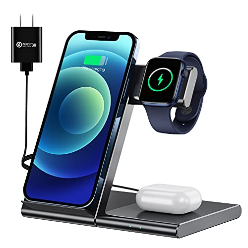 WATOE Wireless Charger 3 in 1 Qi Fast Charging Station,Compatible iPhone 12/SE/11/11...