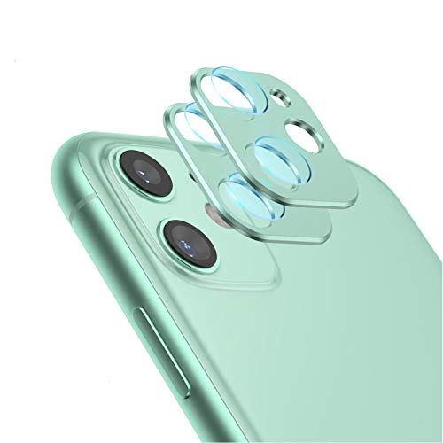 Camera Lens Protector for iPhone 11, Aluminum Alloy Lens Protective Ring - Green, 2 Pcs