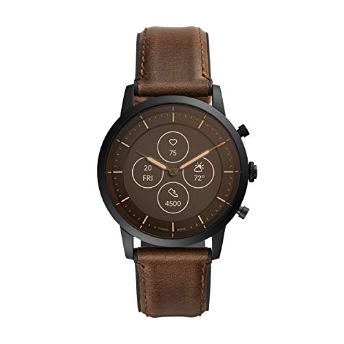 Fossil Men's 42mm Collider Stainless Steel and Leather Hybrid HR Smart Watch, Color:...