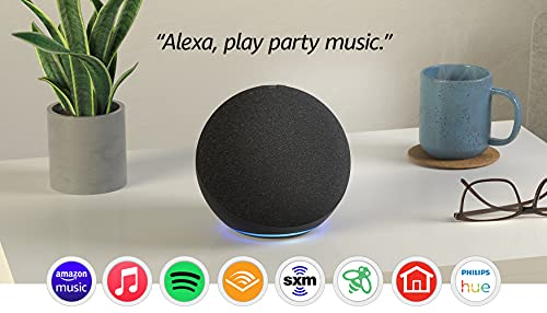 Echo (4th Gen) | With premium sound, smart home hub, and Alexa | Charcoal