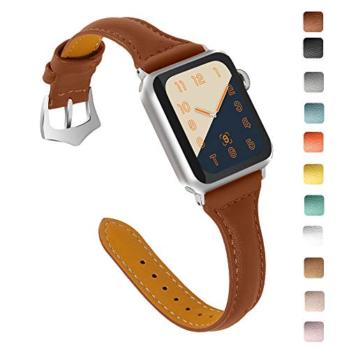 OULUCCI Compatible Apple Watch Band 38mm 40mm, Top Grain Leather Band Replacement Strap...