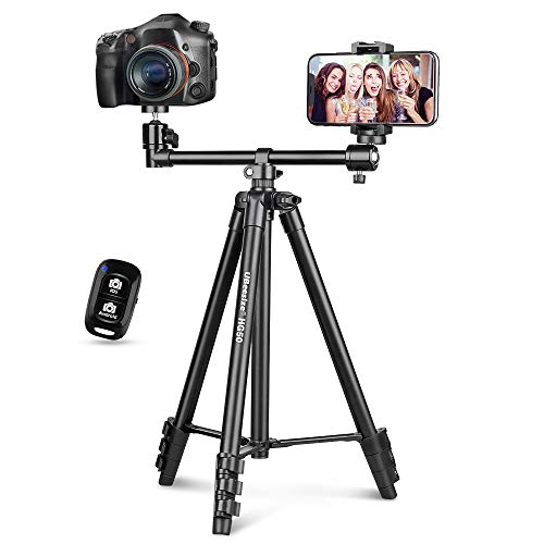UBeesize 50-inch Phone Tripod Stand with Extended Arm, Portable Horizontal Tripod with...