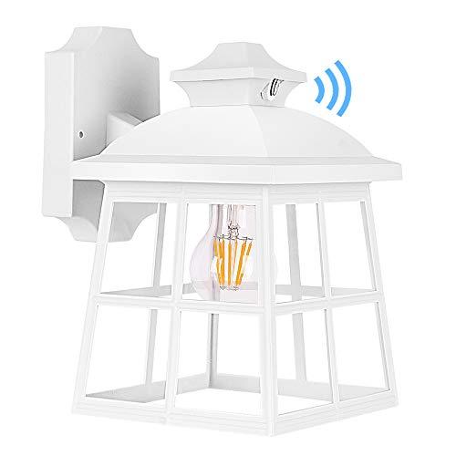 FUDESY Dusk to Dawn LED Outdoor Wall Lantern,White Plastic Photocell Sensor Porch Light...