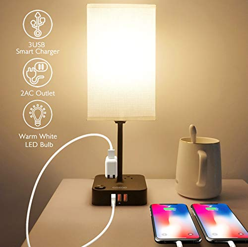 COZOO USB Bedside Table & Desk Lamp with 3 USB Charging Ports and 2 Outlets Power...