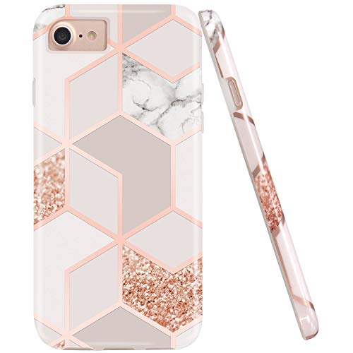 JAHOLAN Stylish Shiny Rose Gold Marble Design Clear Bumper Glossy TPU Soft Rubber Silicone...