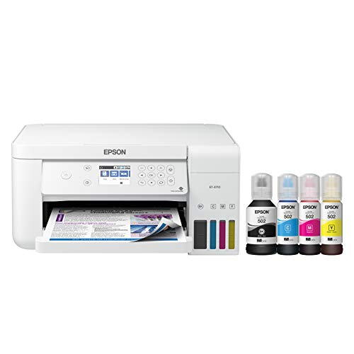 Epson EcoTank ET-3710 Wireless Color Inkjet All-in-One Supertank Printer, White