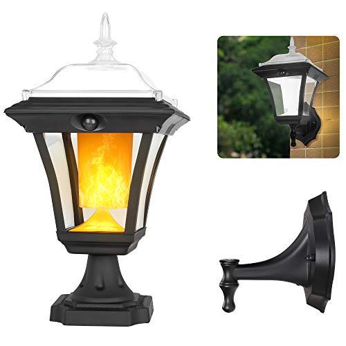 Solar Light Outdoor, Flickering Flame Wall Light Fixture, 2-in-1 Motion Sensor Post Light...