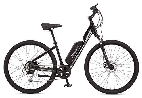 Schwinn Voyageur Electric Bike, Mid-Drive, Medium Step-Through Frame, Dark Blue