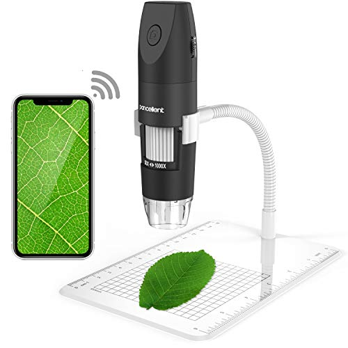 Wireless Digital Microscope, Pancellent 1080P 50X to 1000X Magnification Microscopy with 8...