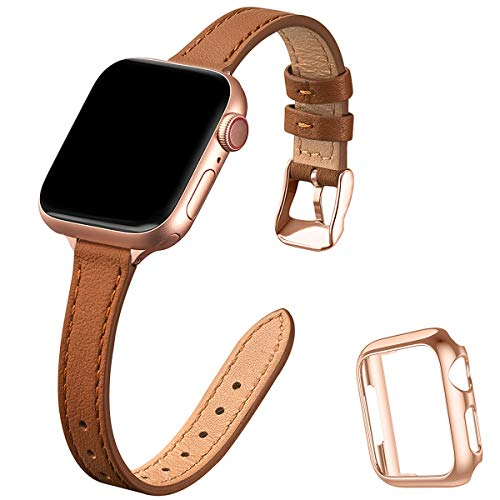 STIROLL Slim Leather Bands Compatible with Apple Watch Band 38mm 40mm 42mm 44mm, Top Grain...