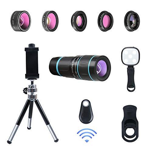 Phone Camera Lens, 6 lenses+ LED Light+ Remote Shutter+ Tripod, 18X Telephoto Zoom/Wide...