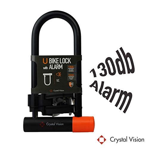 Crystal Vision Anti Theft Loud 130db Alarm Heavy Duty Bike Lock Weather Proof Multi...