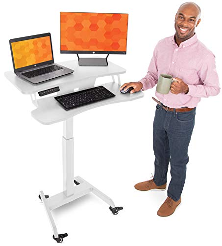 Stand Steady Electric Mobile Podium with Keyboard Tray | Height Adjustable Stand Up...