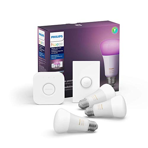 Philips Hue White and Color LED Smart Button Starter Kit, 3 A19 Smart Bulbs, 1 Smart...