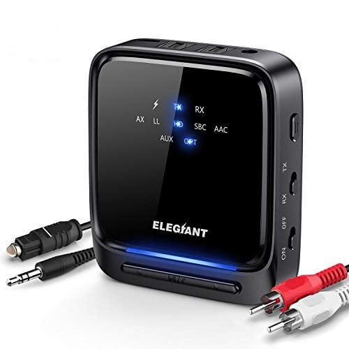 ELEGIANT Bluetooth 5.0 Transmitter Receiver Wireless Audio Adapter Pair 2 Headphones at...
