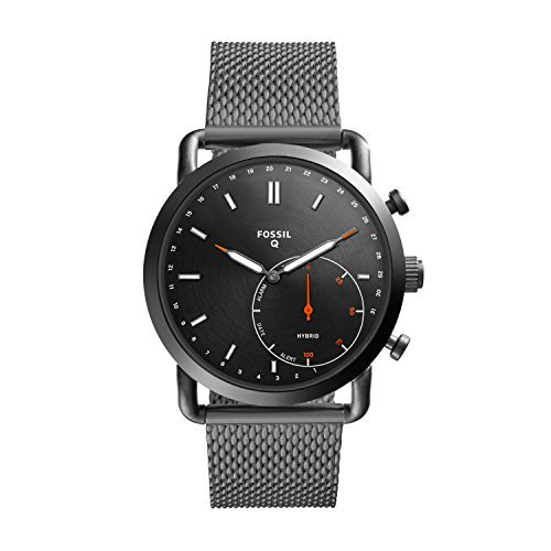 Fossil Q Men's Commuter Stainless Steel Mesh Hybrid Smartwatch, Color: Grey (Model:...