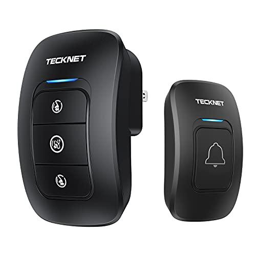Wireless Doorbell, TeckNet Waterproof Wireless Door Bell Chime Kit with LED Light 1...