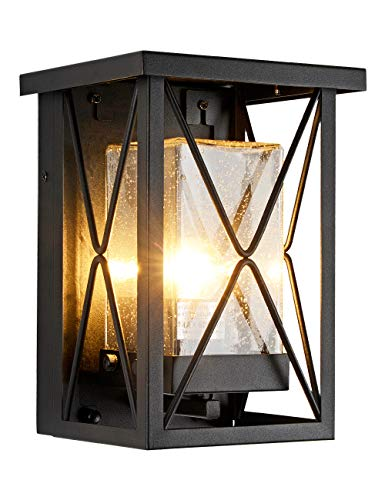 EERU Outdoor Wall Sconce Modern Exterior Wall Mount Porch Lights Black Metal with Seeded...