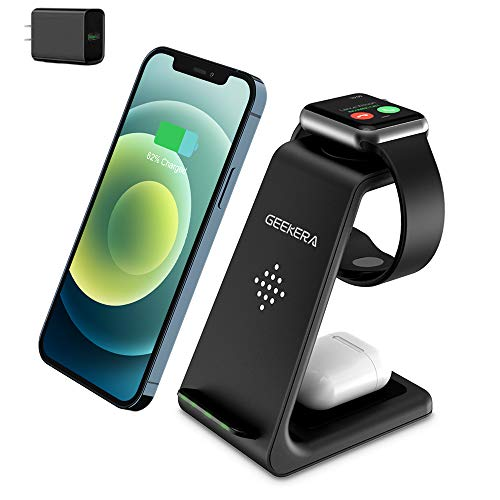Wireless Charging Stand, GEEKERA 3 in 1 Wireless Charger Charging Dock Station for Apple...