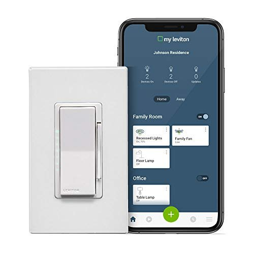 Leviton DW1KD-1BZ Decora Smart Wi-Fi 1000W Incandescent/450W LED Dimmer, No Hub Required,...