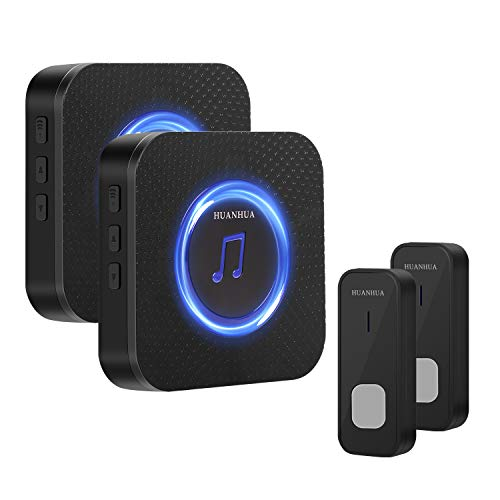 HUANHUA Wireless Doorbell Kit, 2-PC IP55 Waterproof Push Buttons with 1000Ft Operating...