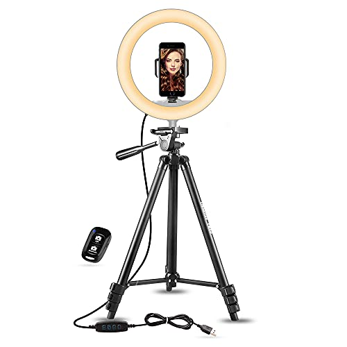 UBeesize 10' Selfie Ring Light with 50' Extendable Tripod Stand & Phone Holder for Live...