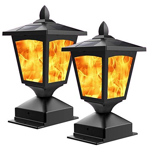 Solar Post Flame Light,Outdoor Deck Fence Post Cap LED Light,Waterproof 4x4 5x5 6x6 Black...