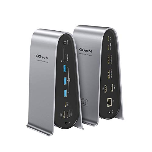 USB C Docking Station, QGeeM 4K Quadruple Display Laptop Docking Station with Charging for...