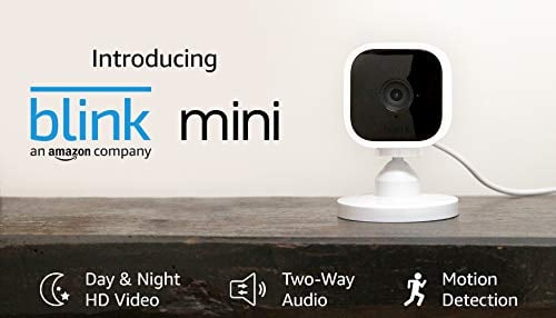 Blink Mini – Compact indoor plug-in smart security camera, 1080 HD video, night vision,...