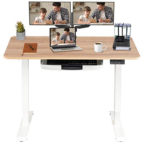 MONOMI Electric Height Adjustable Standing Desk with Keyboard Tray, 48 x 24 inches Stand...