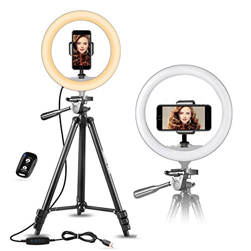UBeesize 10' Selfie Ring Light with 50' Extendable Tripod Stand & Flexible Phone Holder...
