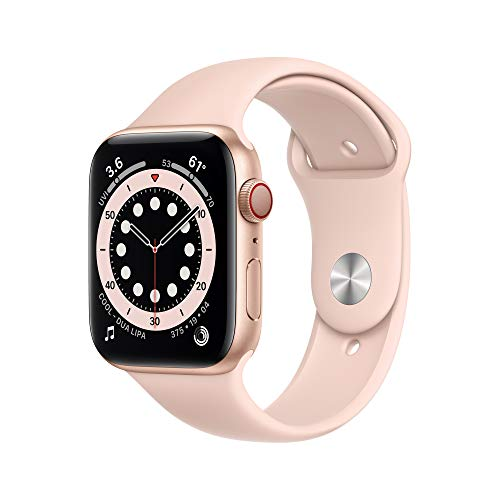 New Apple Watch Series 6 (GPS + Cellular, 44mm) - Gold Aluminum Case with Pink Sand Sport...