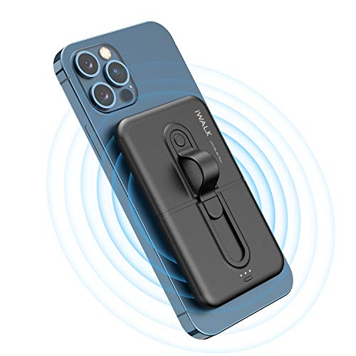 iWALK Wireless Power Bank 5000mAh, Mini Portable Charger by Sticking to Phone, Compatible...