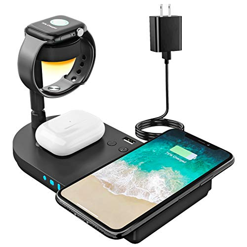 Upgraded Wireless Charging Station, 4 in 1 Qi-Certified 15W Fast Charging Dock with...