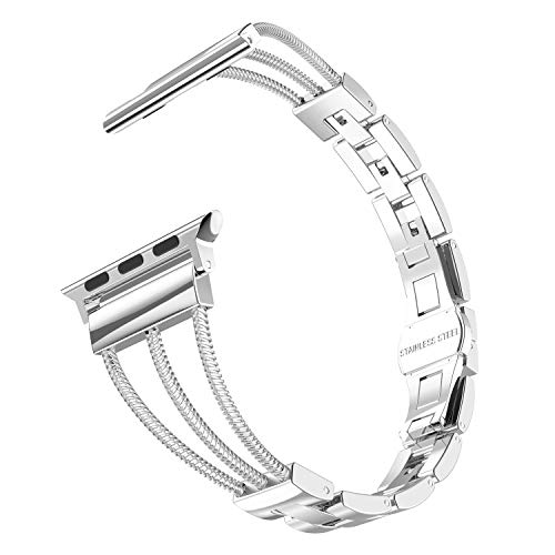 CRODI Silver Compatible with Apple Watch Bands 42mm 44mm Womens Unique Three-line...
