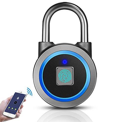 Fingerprint Padlock, Bluetooth Thumbprint Lock USB Rechargeable IP65 Waterproof Ideal for...