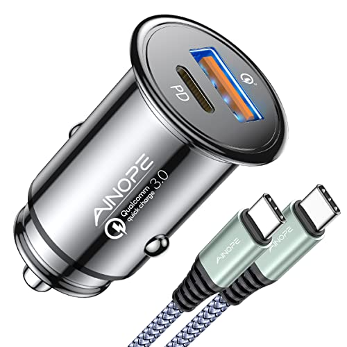 USB C Car Charger 42W Super Mini AINOPE All Metal Fast USB Car Charger Adapter PD&QC 3.0...