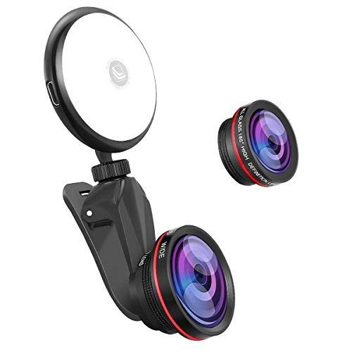 Phone Camera Lens kit with Beauty LED Fill Light for iPhone & Android...