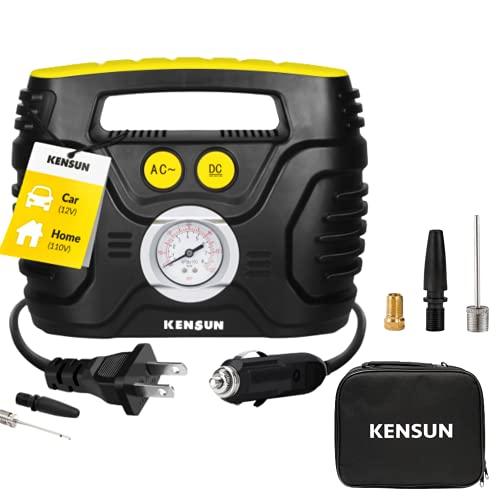 Kensun Portable Air Compressor Pump for Car 12V DC and Home 110V AC Swift Performance Tire...